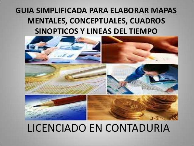 LICENCIADO EN CONTADURIAGUIA SIMPLIFICADA PARA ELABORAR MAPASMENTALES, CONCEPTUALES, CUADROSSINOPTICOS Y LINEAS DEL TIEMPO