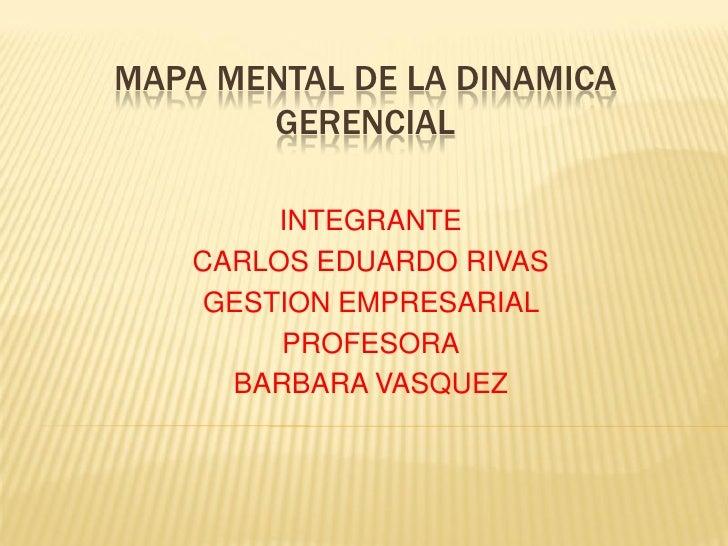 MAPA MENTAL DE LA DINAMICA       GERENCIAL         INTEGRANTE    CARLOS EDUARDO RIVAS     GESTION EMPRESARIAL         PROF...
