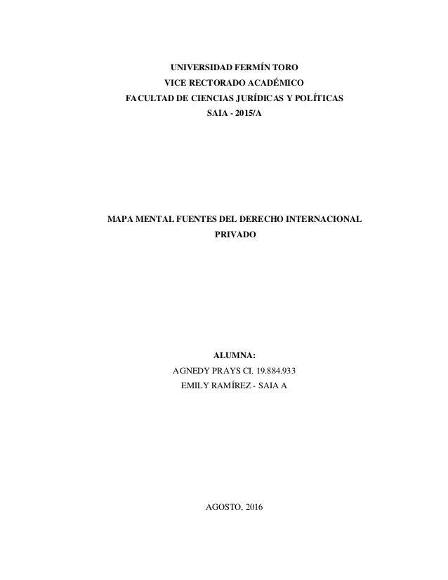 UNIVERSIDAD FERMÍN TORO VICE RECTORADO ACADÉMICO FACULTAD DE CIENCIAS JURÍDICAS Y POLÍTICAS SAIA - 2015/A MAPA MENTAL FUEN...
