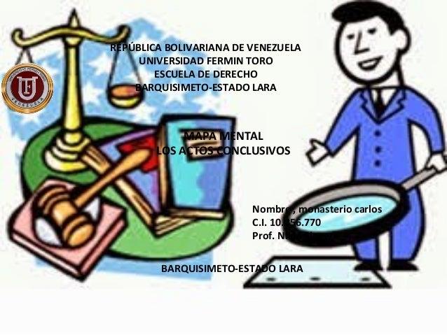 REPÚBLICA BOLIVARIANA DE VENEZUELA UNIVERSIDAD FERMIN TORO ESCUELA DE DERECHO BARQUISIMETO-ESTADO LARA MAPA MENTAL LOS ACT...