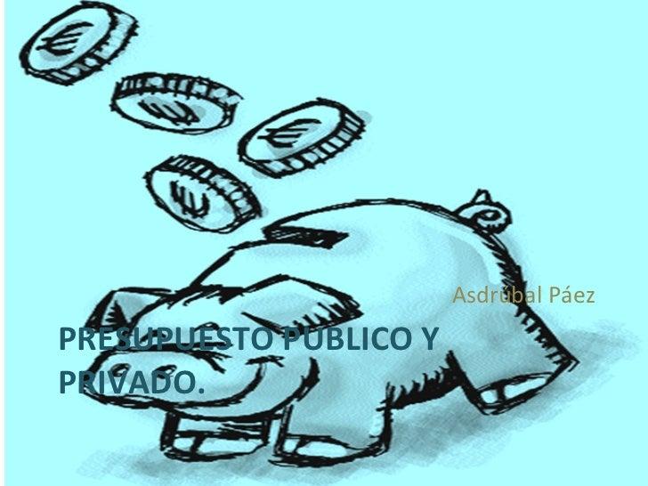 PRESUPUESTO PUBLICO Y PRIVADO. <ul><li>Asdrúbal Páez </li></ul>