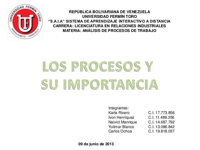"REPÚBLICA BOLIVARIANA DE VENEZUELAUNIVERSIDAD FERMÍN TORO""S.A.I.A"" SISTEMA DE APRENDIZAJE INTERACTIVO A DISTANCIACARRERA: ..."