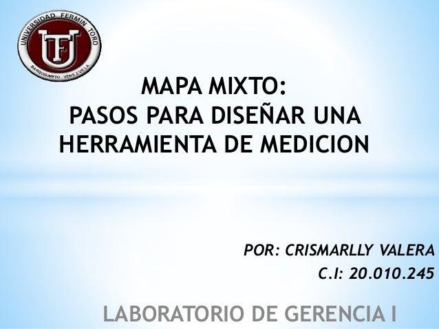 MAPA MIXTO: PASOS PARA DISEÑAR UNA HERRAMIENTA DE MEDICION POR: CRISMARLLY VALERA C.I: 20.010.245 LABORATORIO DE GERENCIA I