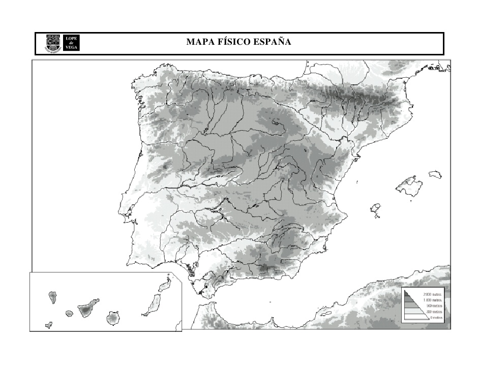 Mapa Relieve España Mudo.Mapa Mudo Espana Relieve