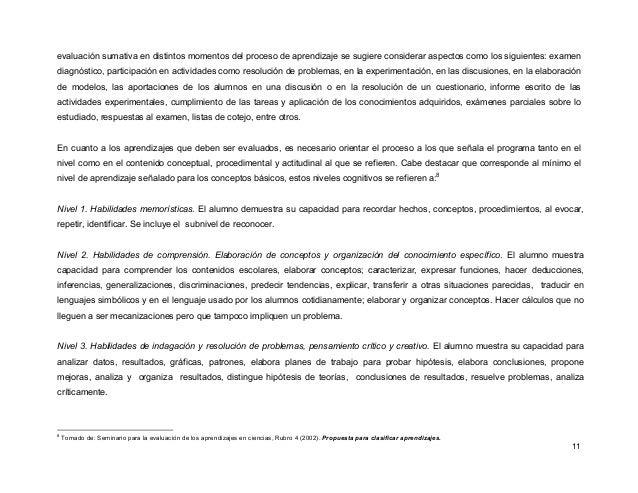 11 evaluación sumativa en distintos momentos del proceso de aprendizaje se sugiere considerar aspectos como los siguientes...