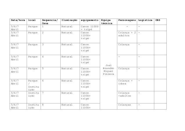 Data/hora   local     Sequencia/   Iluminação   equipamento   Equipa     Personagens Logística   OBS                      ...