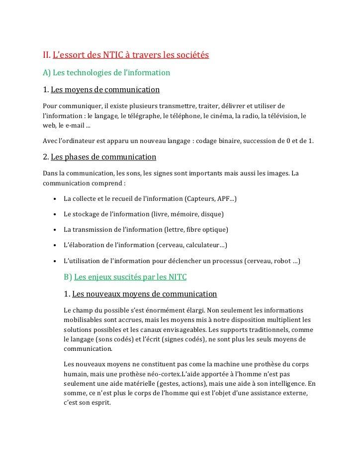 II. L'essort des NTIC { travers les sociétésA) Les technologies de l'information1. Les moyens de communicationPour communi...