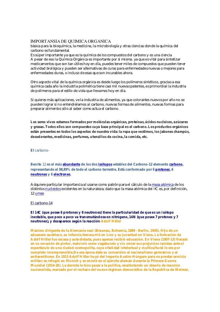 IMPORTANSIA DE QUIMICA ORGANICAbásica para la bioquímica, la medicina, la microbiología y otras ciencias donde la química ...