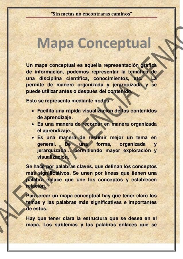 """""""Sin metas no encontraras caminos"""" 1 Un mapa conceptual es aquella representación gráfica de información, podemos represen..."""