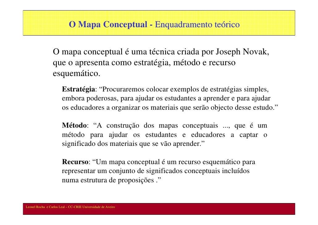 O Mapa Conceptual - Enquadramento teórico                    O mapa conceptual é uma técnica criada por Joseph Novak,     ...