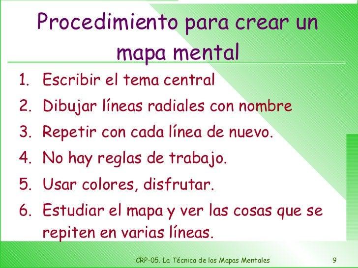 Procedimiento para crear un mapa mental <ul><li>Escribir el tema central </li></ul><ul><li>Dibujar líneas radiales con nom...