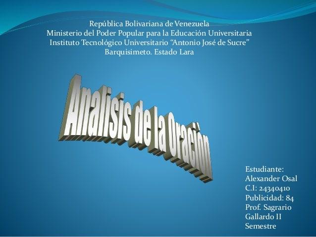 República Bolivariana de Venezuela Ministerio del Poder Popular para la Educación Universitaria Instituto Tecnológico Univ...