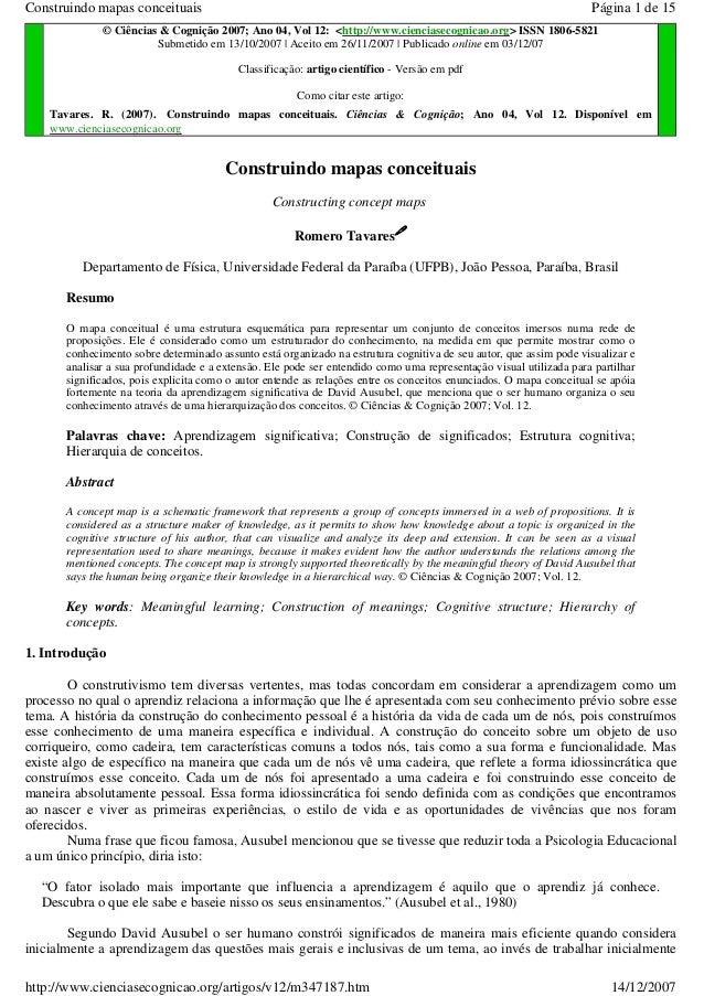 Construindo mapas conceituais  Página 1 de 15  © Ciências & Cognição 2007; Ano 04, Vol 12: <http://www.cienciasecognicao.o...