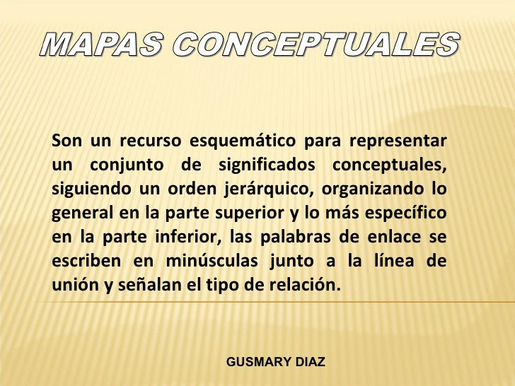 Son un recurso esquemático para representar un conjunto de significados conceptuales, siguiendo un orden jerárquico, organ...