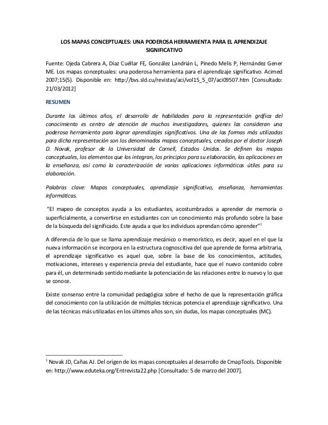 LOS MAPAS CONCEPTUALES: UNA PODEROSA HERRAMIENTA PARA EL APRENDIZAJE                                  SIGNIFICATIVOFuente:...