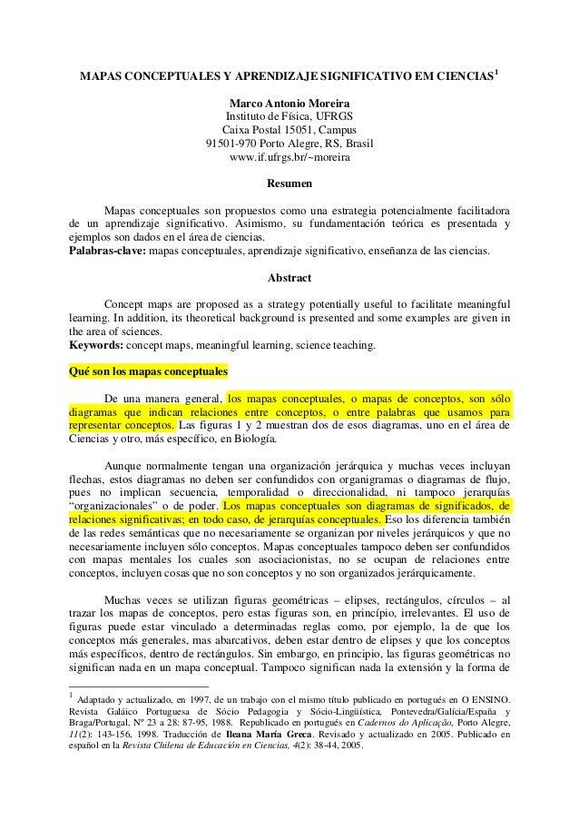 MAPAS CONCEPTUALES Y APRENDIZAJE SIGNIFICATIVO EM CIENCIAS1 Marco Antonio Moreira Instituto de Física, UFRGS Caixa Postal ...