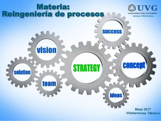 Materia: Reingeniería de procesos Mayo 2017 Villahermosa, Tabasco Campus Villahermosa