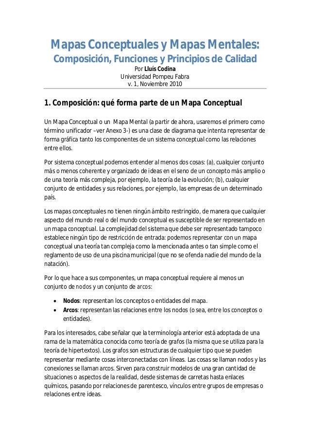Mapas Conceptuales y Mapas Mentales: Composición, Funciones y Principios de Calidad Por Lluís Codina Universidad Pompeu Fa...