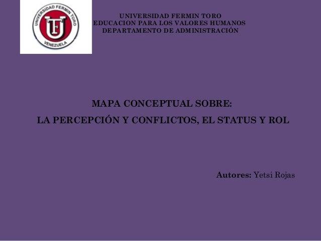 MAPA CONCEPTUAL SOBRE: LA PERCEPCIÓN Y CONFLICTOS, EL STATUS Y ROL Autores: Yetsi Rojas UNIVERSIDAD FERMIN TORO EDUCACION ...