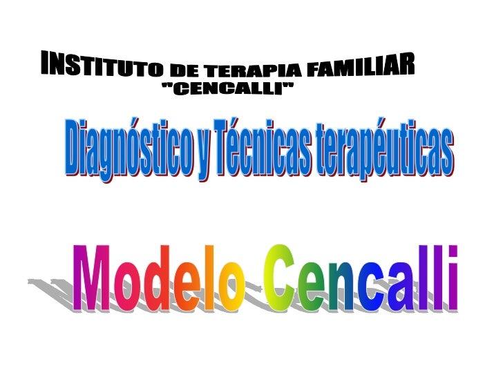"INSTITUTO DE TERAPIA FAMILIAR<br />""CENCALLI""<br />Diagnóstico y Técnicas terapéuticas <br />Modelo Cencalli<br />"