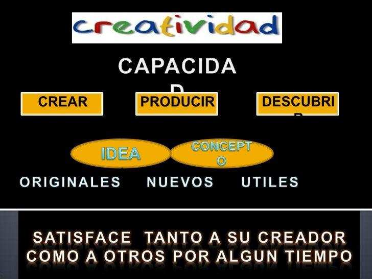 CAPACIDAD<br />CREAR<br />PRODUCIR<br />DESCUBRIR<br />IDEA<br />CONCEPTO<br />ORIGINALES<br />NUEVOS<br />UTILES<br />SAT...
