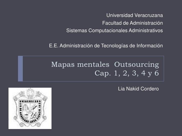 Mapas mentales  OutsourcingCap. 1, 2, 3, 4 y 6<br />LiaNakid Cordero<br />Universidad Veracruzana<br />Facultad de Adminis...