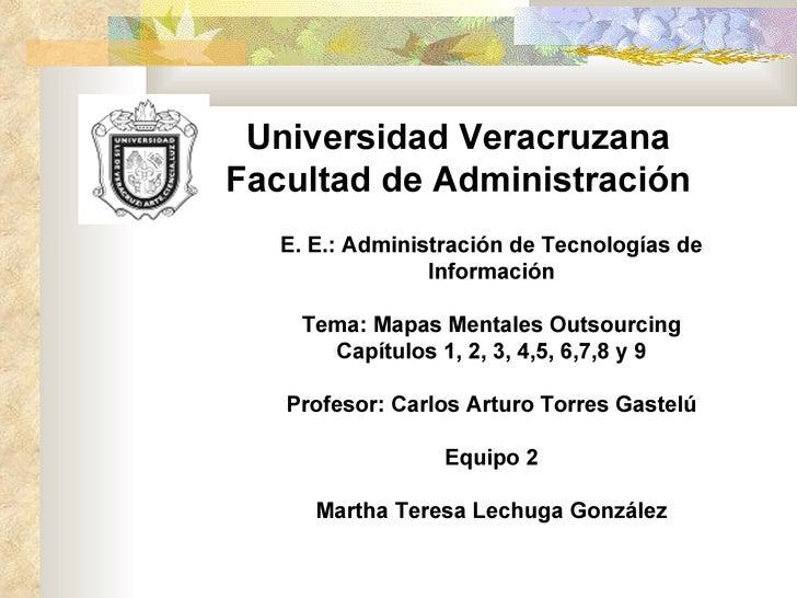 Universidad Veracruzana Facultad de Administración E. E.: Administración de Tecnologías de Información Tema: Mapas Mentale...