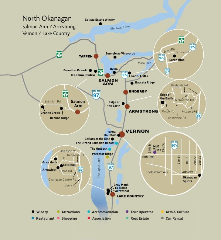 North OkanaganSalmon Arm / ArmstrongVernon / Lake Country     Winery       Attractions   Accommodation   Tour Operator   A...