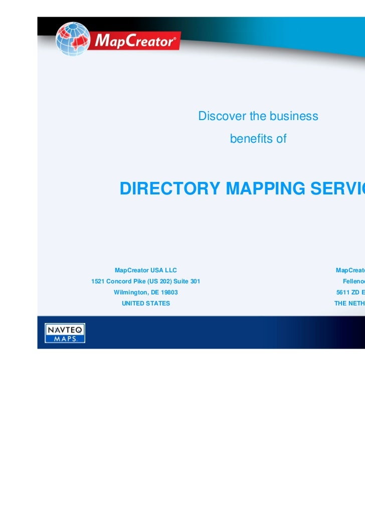 Discover the business                                        benefits of         DIRECTORY MAPPING SERVICES       MapCreat...