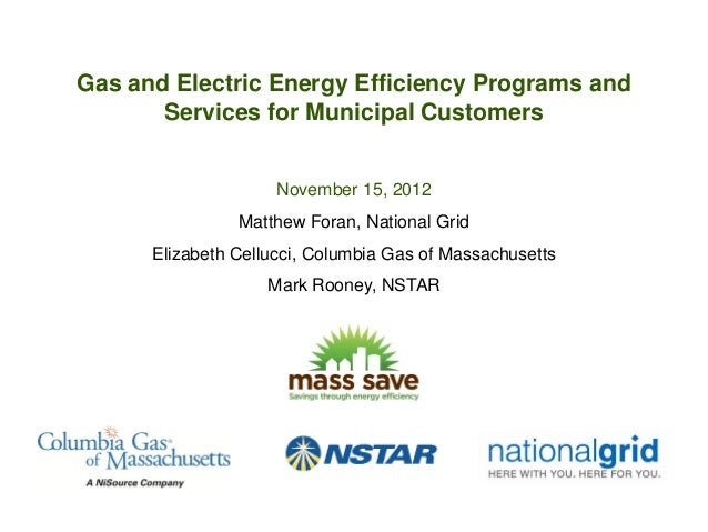 Gas and Electric Energy Efficiency Programs and       Services for Municipal Customers                     November 15, 20...