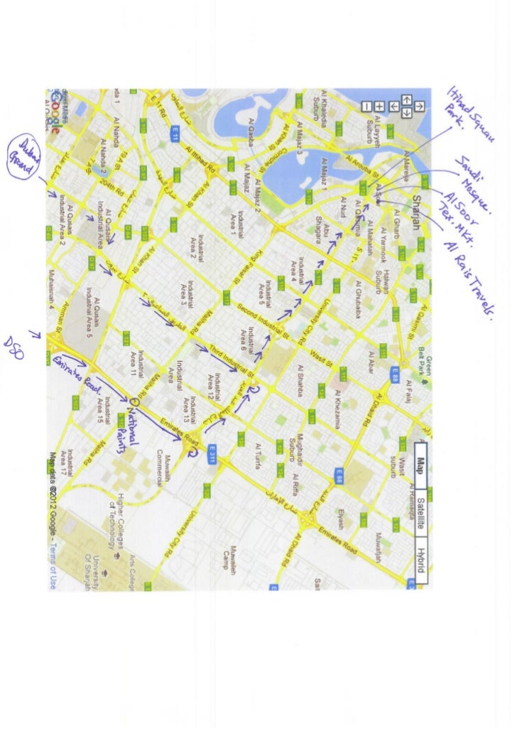 Map dubai sharjah directions on