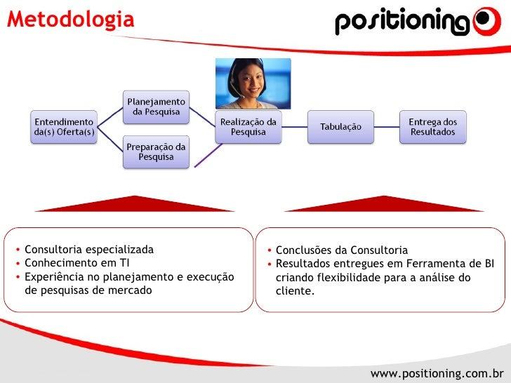 Metodologia <ul><li>Consultoria especializada </li></ul><ul><li>Conhecimento em TI </li></ul><ul><li>Experiência no planej...