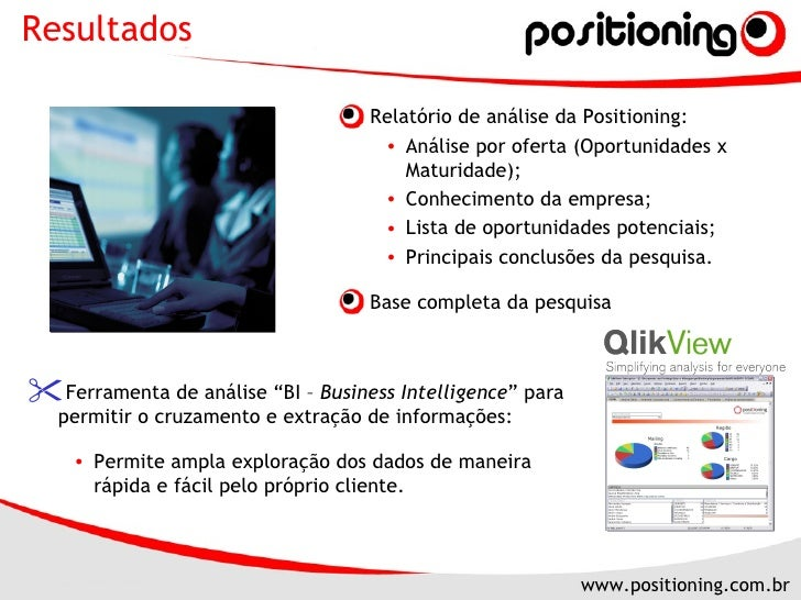 <ul><li>Relatório de análise da Positioning: </li></ul><ul><ul><li>Análise por oferta (Oportunidades x Maturidade); </li><...