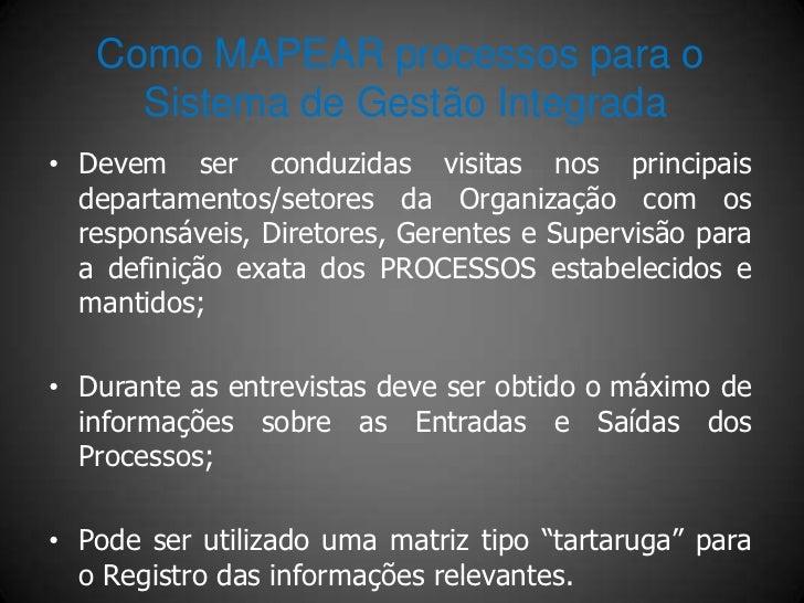 Como MAPEAR processos para o      Sistema de Gestão Integrada • Devem ser conduzidas visitas nos principais   departamento...