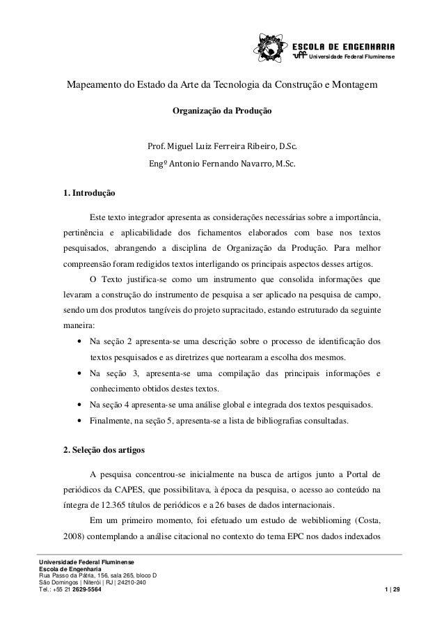 Universidade Federal Fluminense  Mapeamento do Estado da Arte da Tecnologia da Construção e Montagem Organização da Produç...