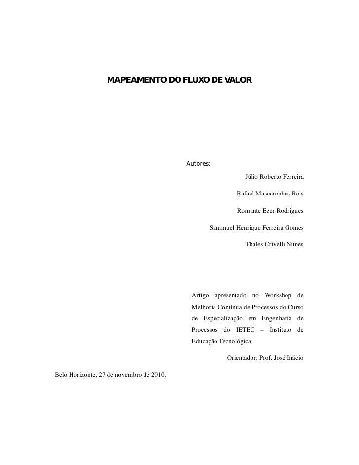 MAPEAMENTO DO FLUXO DE VALOR                                          Autores:                                            ...