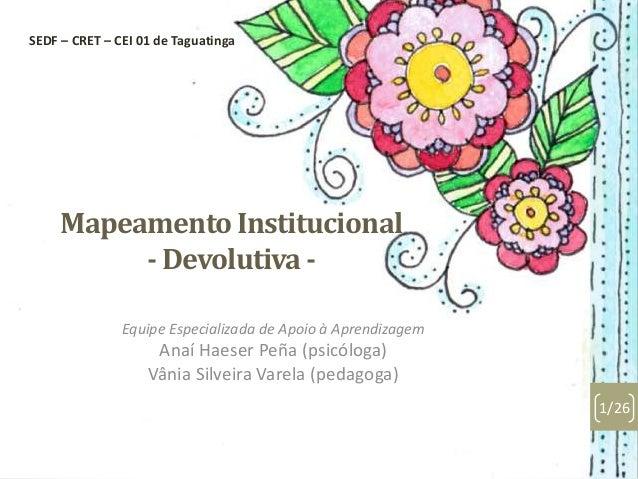 Mapeamento Institucional - Devolutiva - Equipe Especializada de Apoio à Aprendizagem Anaí Haeser Peña (psicóloga) Vânia Si...