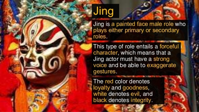 Jing Jing is a painted face male role who plays either primary or secondary roles. This type of role entails a forceful ch...