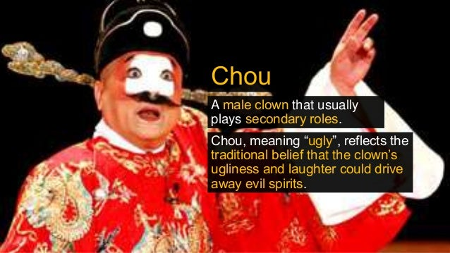 """Chou A male clown that usually plays secondary roles. Chou, meaning """"ugly"""", reflects the traditional belief that the clown..."""