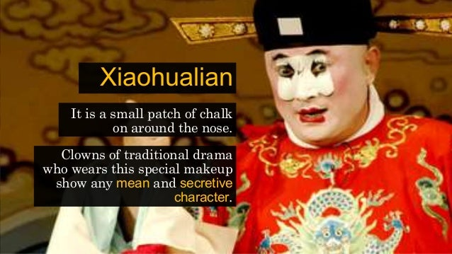 Xiaohualian It is a small patch of chalk on around the nose. Clowns of traditional drama who wears this special makeup sho...
