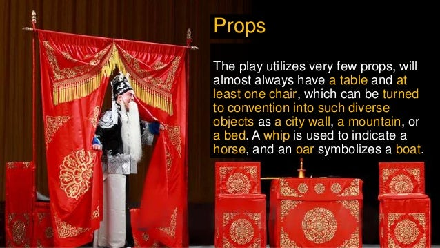 The play utilizes very few props, will almost always have a table and at least one chair, which can be turned to conventio...