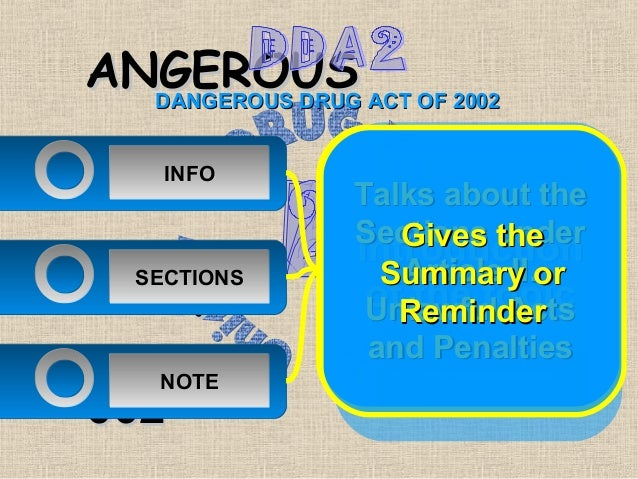ANGEROUS ACT OF 2002  DANGEROUS DRUGRUG    INFO             Talks about the             Sections the                Gives ...