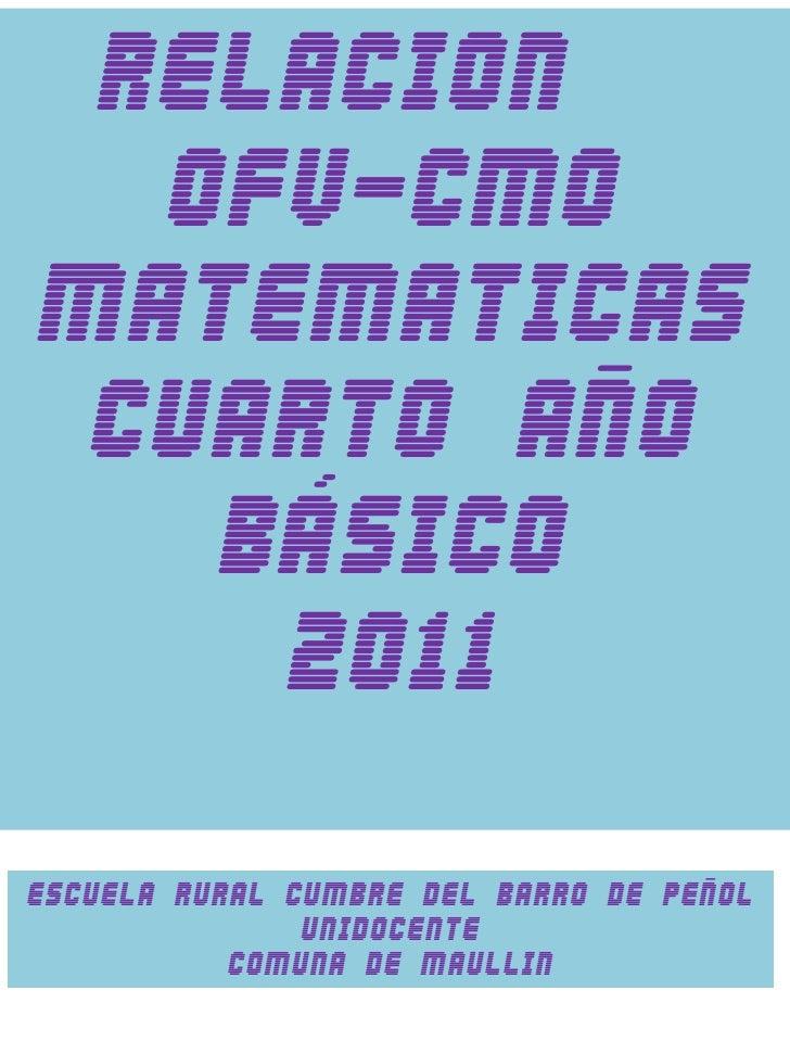 Mapeo ofv y cmo matematicas 4º año