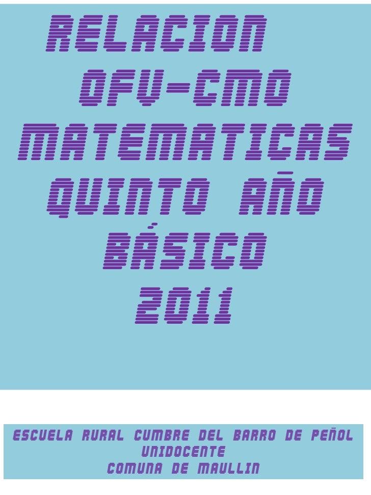 Mapeo ofv y cmo matematicas 5º año