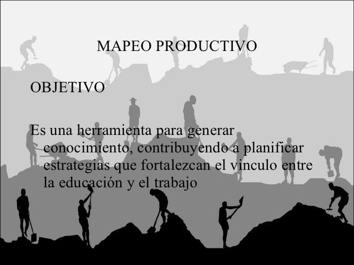 MAPEO PRODUCTIVO <ul><li>OBJETIVO </li></ul><ul><li>Es una herramienta para generar conocimiento, contribuyendo a planific...