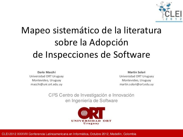 Mapeo sistemático de la literatura                    sobre la Adopción               de Inspecciones de Software         ...
