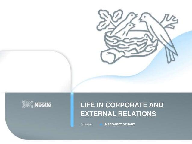 LIFE IN CORPORATE ANDEXTERNAL RELATIONS5/10/2012   MARGARET STUART