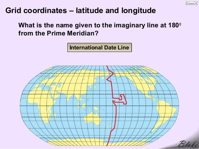 International Date Line On World Map.Map Grids