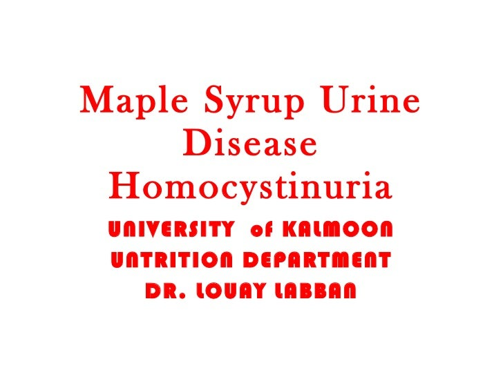 Maple Syrup Urine Disease Homocystinuria UNIVERSITY  of KALMOON UNTRITION DEPARTMENT DR. LOUAY LABBAN