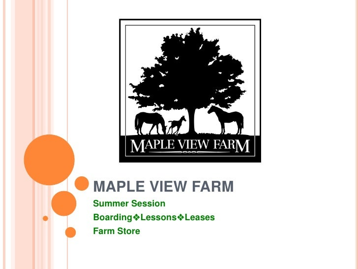MAPLE VIEW FARMSummer SessionBoardingLessonsLeasesFarm Store
